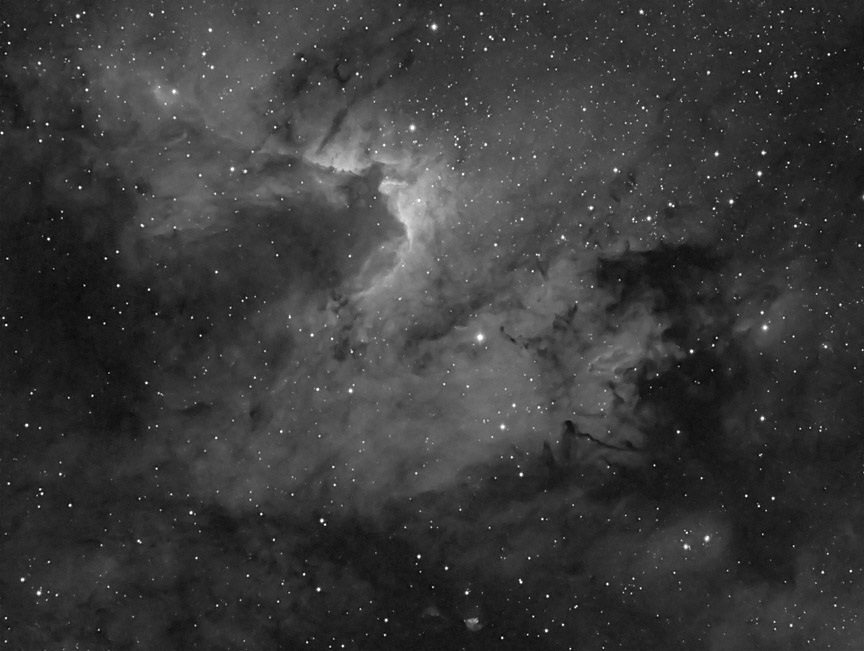 Cave Nebula in narrowband hydrogen-alpha light.