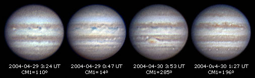 Four images of Jupiter 2004